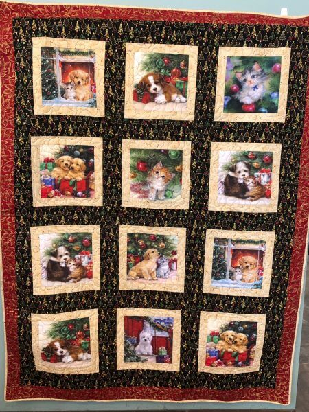 christmas puppy and kitten quilt